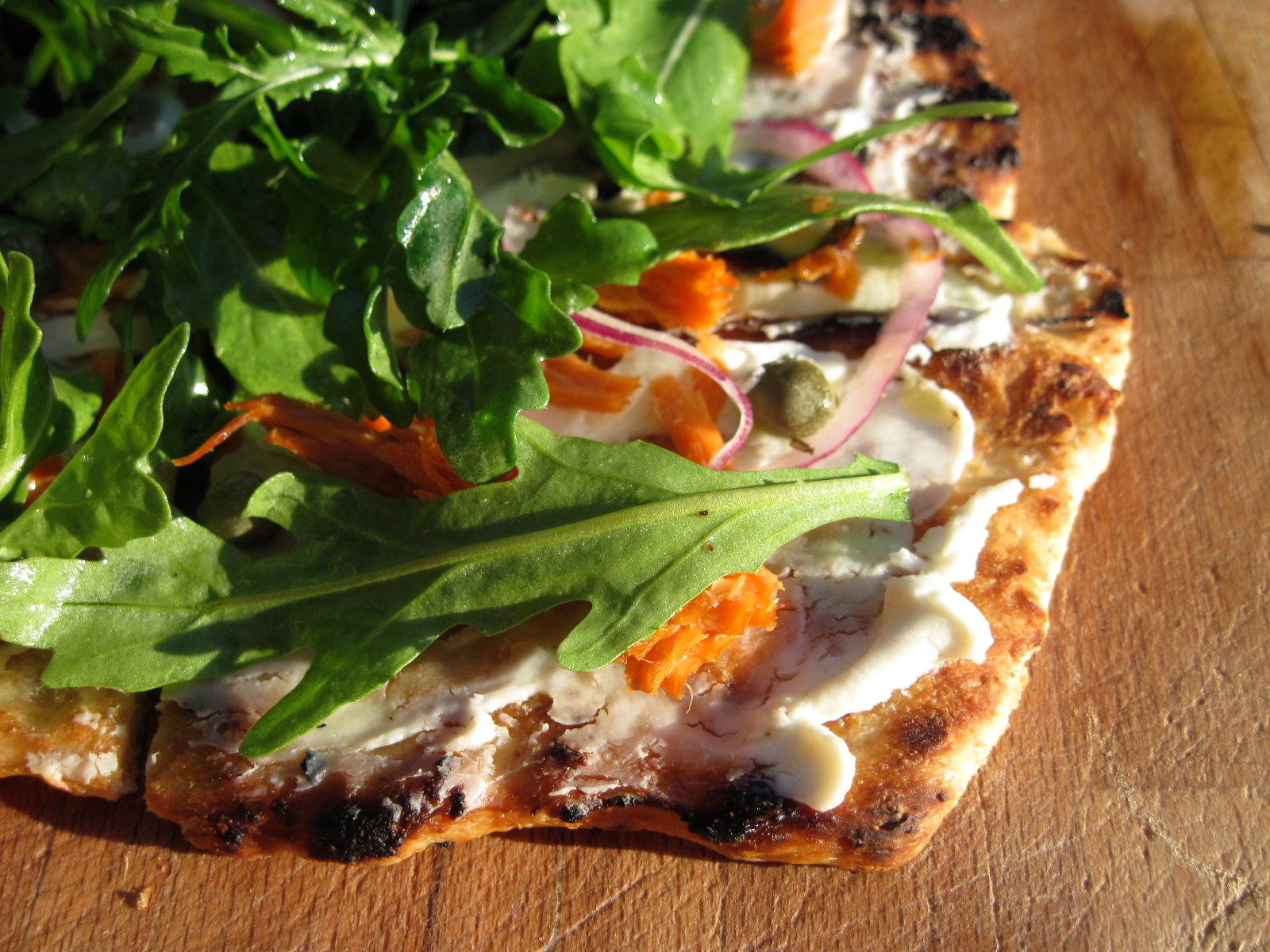 Grilled Pizza with Smoked Salmon, Goat Cheese & Arugula
