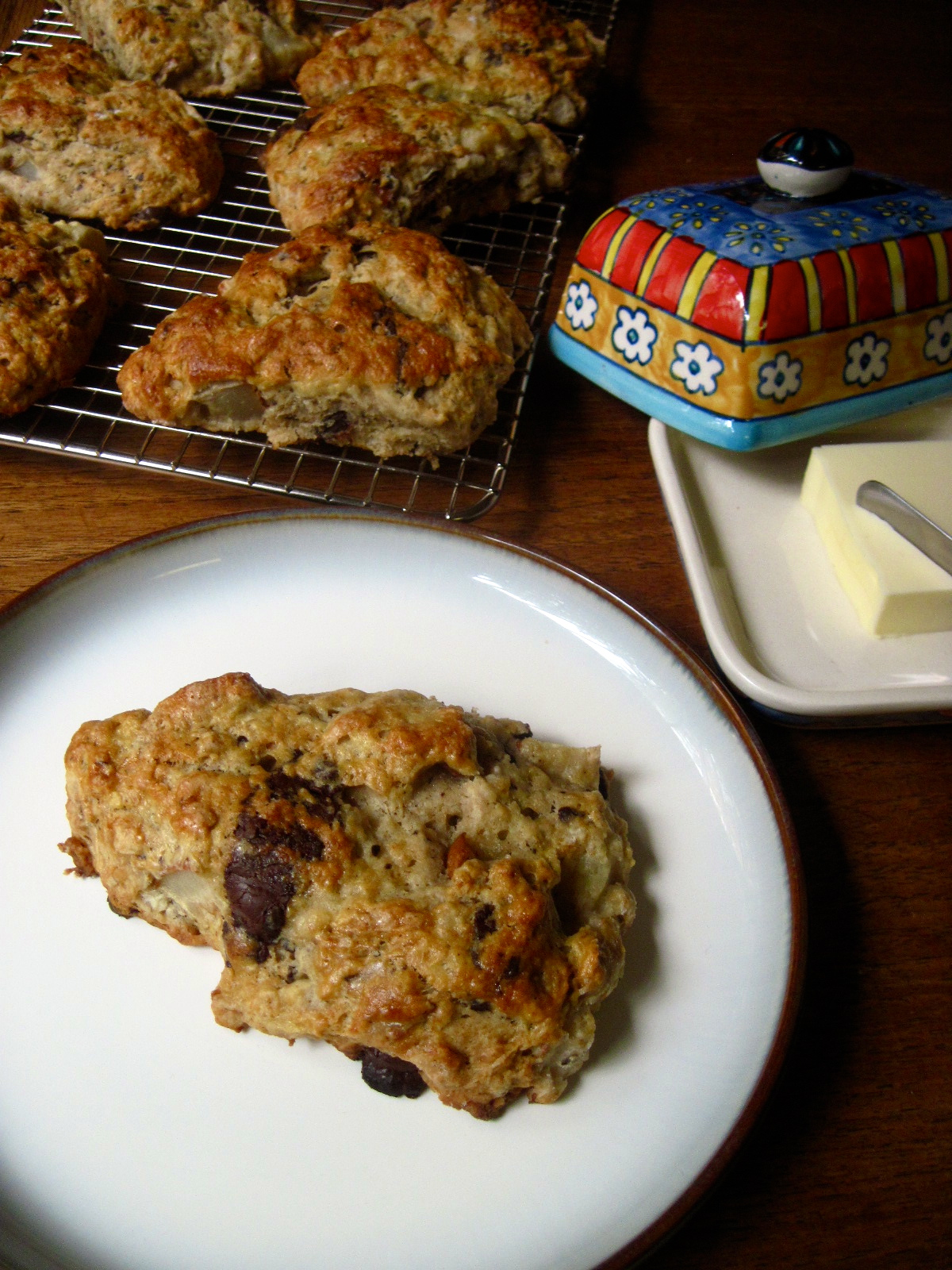 Roasted Pear and Chocolate Chunk Sourdough Scones