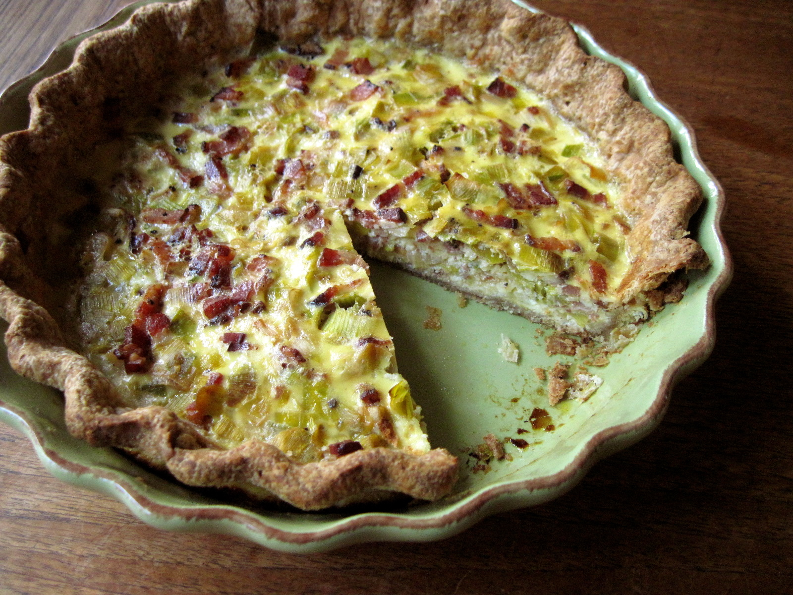 Leek & Bcaon Quiche with Whole Grain Crust