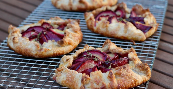 Sourdough Plum and Almond Cream Galettes with Thyme
