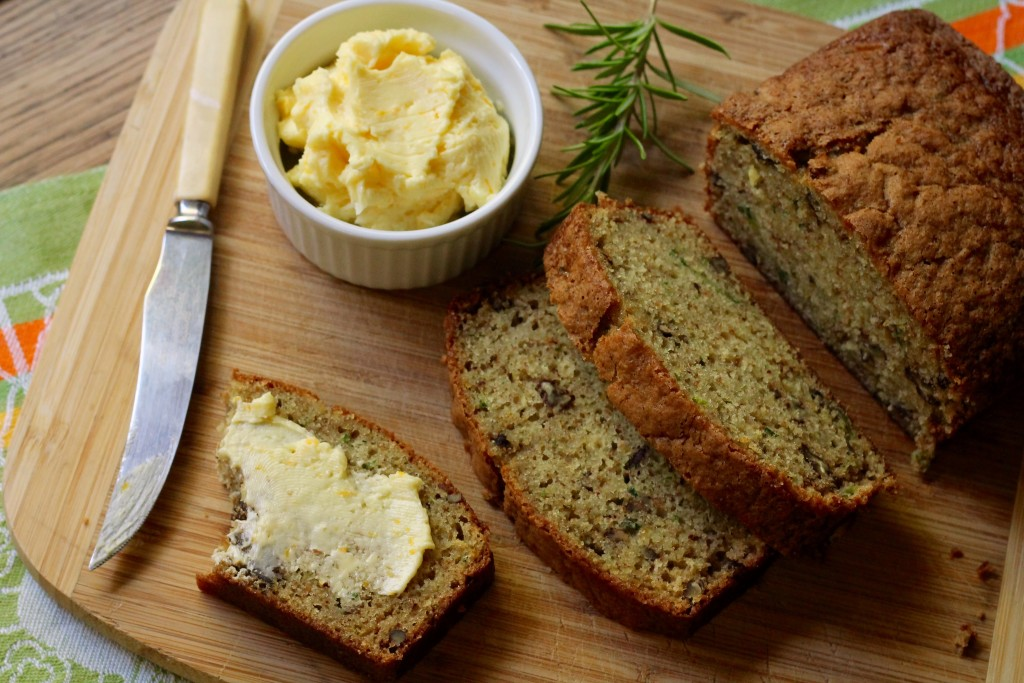 Orange Rosemary Pecan Zucchini Bread with Orange-Honey Butter | Korena in the Kitchen