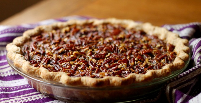 Chocolate-Bottomed Maple Bourbon Pecan Pie