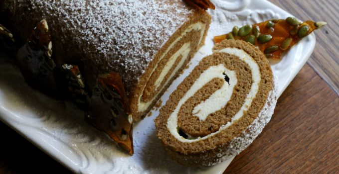 Spiced Pumpkin Roulade with White Chocolate & Mascarpone
