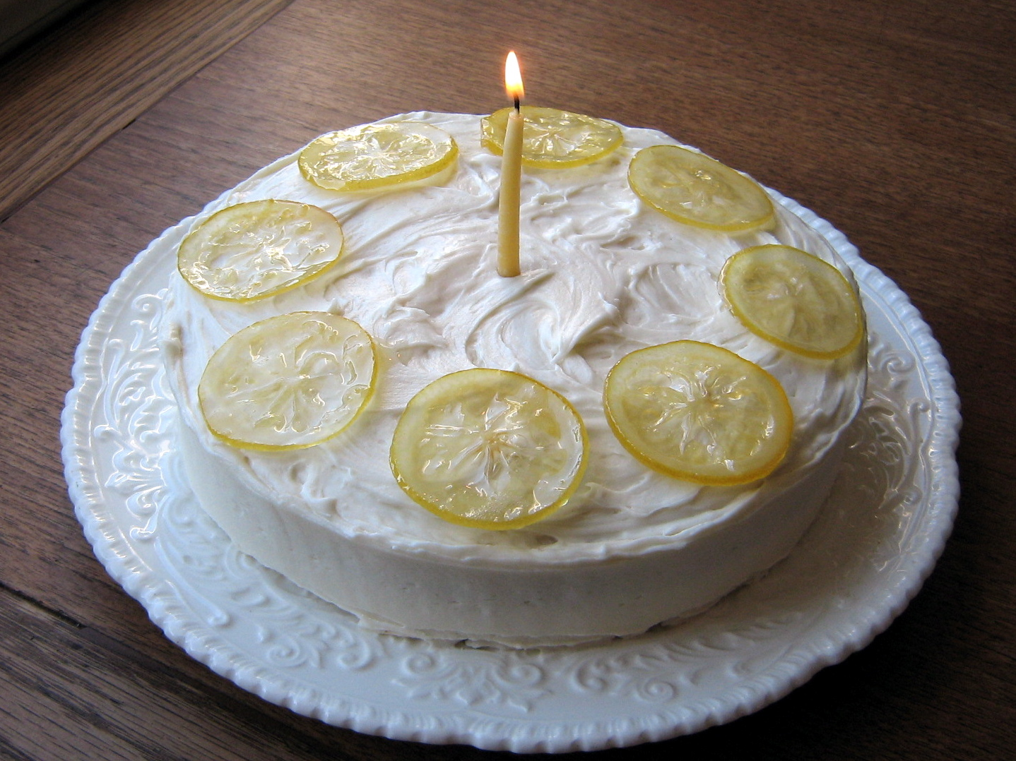 Lemontastic Birthday Cake with Lemon Curd Filling and Candied
