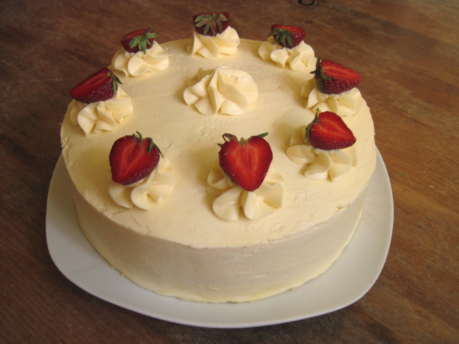 Strawberries Cream Birthday Cake
